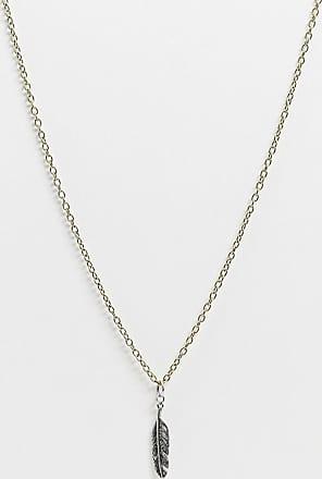 Icon Brand Catenina oro con pendente con piuma argento brunito-Multicolore
