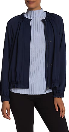 Kenneth Cole Ruffle Trim Bomber Jacket