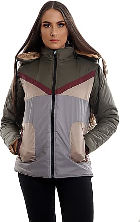 Parsa Fashions Womens Contrast Fancy Quilted Padded Puffer Warm Thick Zipper Jacket Ladies Winter Coat (XL, Khaki - Grey)