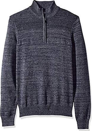 Van Heusen Mens Long Sleeve Texture Block 1/4 Zip Sweater 7GG, Navy Heather, Medium
