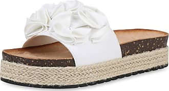 Scarpe Vita Women High-Heeled Sandals Mules Bast Volants 190524 White UK 5.5 EU 39