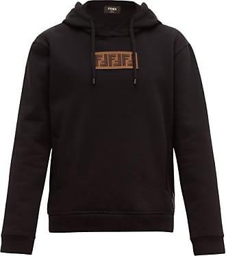 Fendi Logo-appliqué Cotton-blend Hooded Sweatshirt - Mens - Black