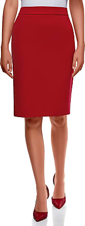 oodji Collection Womens Basic Straight Skirt, Red, UK 6 / EU 36 / XS