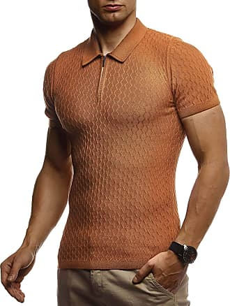 LEIF NELSON Mens T-Shirt Summer Polo LN-7315 Camel XX-Large