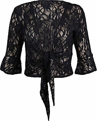 Purple Hanger New Womens Floral Lace 3/4 Three Quarter Short Sleeve Ladies Front Tie Up Sequin Shrug Bolero Stretch Cropped Top Cardigan Plus Size Black Size 12-14
