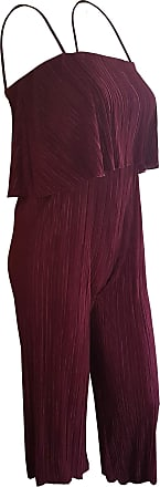 Top Fashion18 Top Fashion Ladies Plus Size Pleated Chiffon Crinkled Jumpsuit Strap Bardot Tiered Overlay Top (UK Size 14-26) Wine