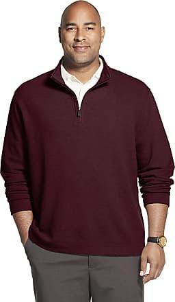 Van Heusen Mens Big and Tall Never Tuck Long Sleeve 1/4 Zip Shirt, Spiced Currant Solid, XL
