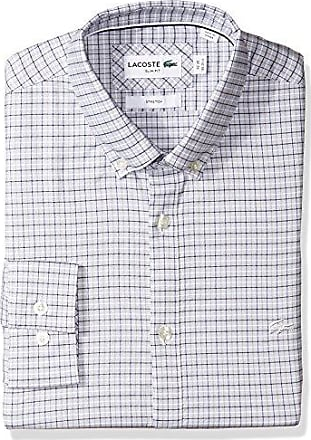 0c8c276d361e Lacoste Mens Long Sleeve Button Down Check Stretch Pinpoint Slim Fit