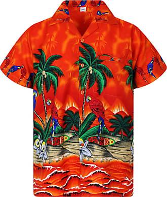 V.H.O. Funky Hawaiian Shirt, Shortsleeve, Parrot, Orange, 3XL