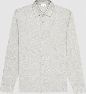 Reiss Hendon - Mercerised Cotton Shirt in Grey Melange, Mens, Size XXL
