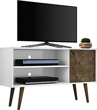 Manhattan Comfort 212BMC69 Liberty Small Mid-Century Modern TV Stand, White/Rustic Brown