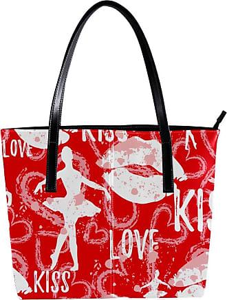 Nananma Womens Bag Shoulder Tote handbag with Ballerina Lips Love Heart Pattern Zipper Purse PU Leather Top-handle Zip Bags
