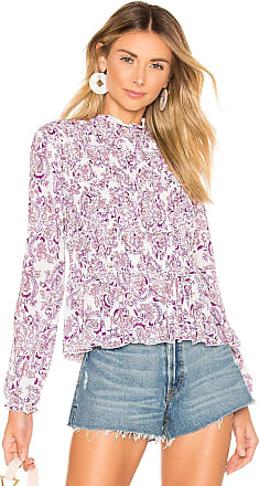 See By Chloé Smocked Printed Blouse in Purple