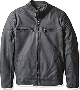 Urban Republic Mens Pu Suede Faux Leather Jacket, Gray, L