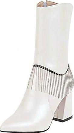 f3590d5c6d RAZAMAZA Damen Elegant Party High Heels Halbe Stiefel Hochzeit Stiefel  Pointed Mid Boots Blockabsatz White Gr