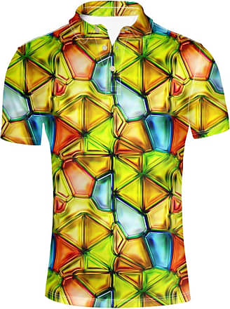 Hugs Idea 3D Geometry Design Mens Golf Sport Shirt Fashion Summer Short Sleeves Colorful T-Shirt