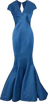 Zac Posen Woman Fluted Cutout Satin Gown Cobalt Blue Size 10