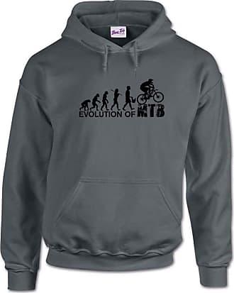 Bang Tidy Clothing The Evolution of Mountain Biking MTB Mens Hoodie-Dark Grey-XL