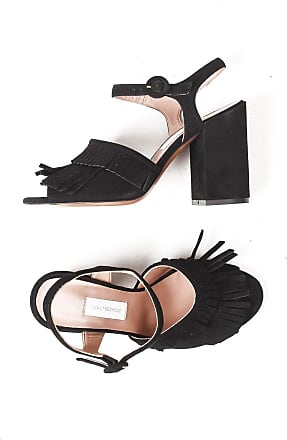 L'autre Chose Leather sandal SCAOSCIATA with heel 10 CM Black Size: 6 UK