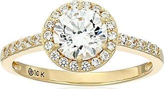 Amazon Collection 10k Gold Made with Swarovski Zirconia Round Halo Ring, Size 6