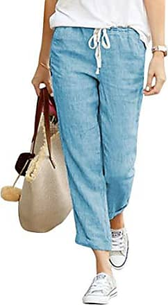 Damen Freizeithose Sommerhose Strandhose Leichte Hose Comfort Fit Hohe Taille