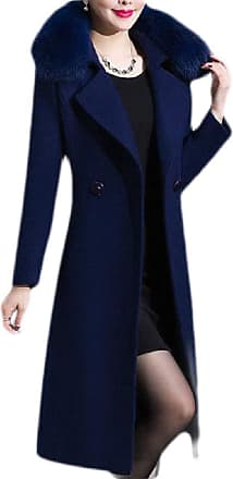 H&E Women Wool-Blend Winter Thick Faux Fur Collar Outwear Mid-Long Pea Coats Navy Blue M