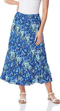 Roman Originals Womens 100% Cotton Summer Floral Tropical Print Tiered Flowing Maxi Length Skirt - Ladies Boho Gypsy Crinkle Elastic Waist Lined Long Skirts - Blue -
