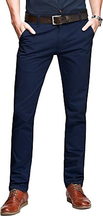 OCHENTA Mens Casual Slim-Tapered Flat-Front Trousers Dark Blue Lable 40