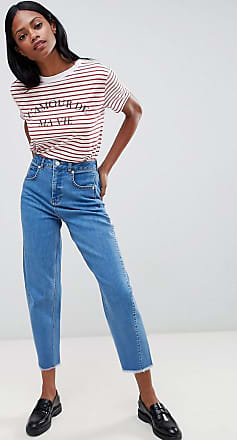 Whistles High Waisted Barrel Leg Jeans-Blue