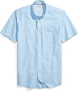 Goodthreads Mens Standard-Fit Short-Sleeve Solid Poplin Shirt, Blue, X-Large