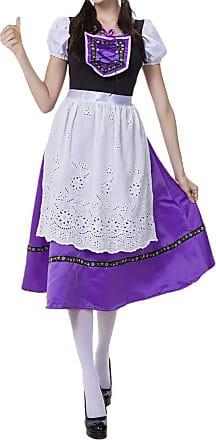 JERFER Womens Oktoberfest Costume Bavarian Beer Girl Drindl Tavern Maid Dress Summer Dress For Ladies (M, Purple)