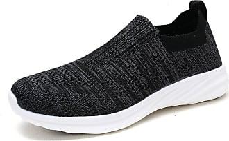 Dream Pairs Womens Slip On Trainers Mesh Lightweight Casual Walking Nursing Shoes 171114-W Black Grey Size 8.5 US / 6.5 UK