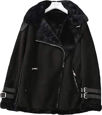 VITryst Women Winter Winter Faux Fur Fleece Outwear Lapel Biker Motor Aviator Jacket,Black,US XXXX-Large