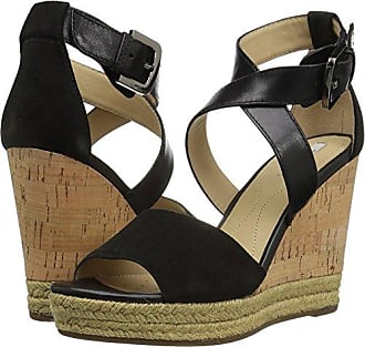 Geox Womens W Janira 9 Wedge Sandal, Black, 40 EU/10 M US