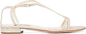 Casadei Sandália rasteira em couro - Dourado