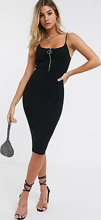 4th & Reckless knitted midi dress with zip detail in black