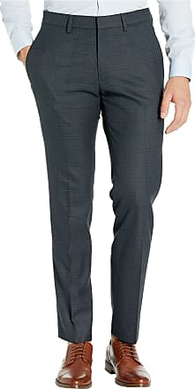 Kenneth Cole Reaction Mens Stretch Windowpane Slim Fit Flat Front Dress Pant, Charcoal Heather, 31W x 30L