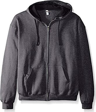 Fruit Of The Loom Mens Full-Zip Hooded Sweatshirt, Charcoal Heather, XX-Large