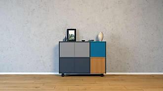 MYCS Sideboard Anthrazit - Designer-Sideboard: Türen in Grau - Hochwertige Materialien - 116 x 80 x 35 cm, Individuell konfigurierbar