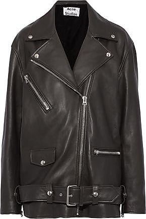 Acne Studios Acne Studios Woman Myrtle Oversized Leather Biker Jacket Dark Gray Size 38