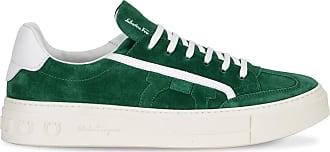 Salvatore Ferragamo Green suede lace-up Borg sneaker