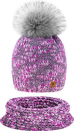 morefaz Set Scarf & Hat Women Winter Beanie Hat Knitted Alpaca Wool Hats Fleece Lining Pom Pom (Set Hat&Scarf Lavender Pink)
