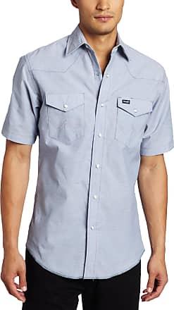 Wrangler Mens Authentic Cowboy Cut Work Western Short Sleeve Shirt - Blue - Medium
