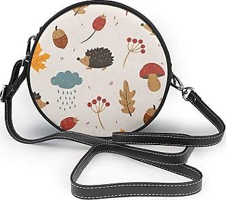 Turfed Hedgehogs Acorns Print Round Crossbody Bags Women Shoulder Bag Adjustable PU Leather Chain Strap and Top Zipper Small Handbag Handle Tote