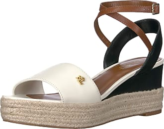 Lauren Ralph Lauren Lauren by Ralph Lauren Womens Delores Sandal, Vanilla/Black/Deep Saddle Tan, 7 UK