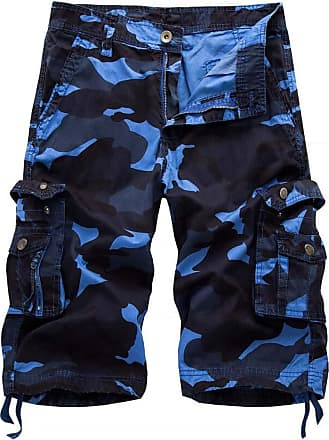 Inlefen Mens Summer Camouflage Multi-Pockets Cargo Cotton Shorts Work Leisure Outdoor Beach Short Pants with Zipper(Blue Sky/29)