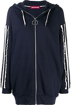 Guardaroba Blusa de moletom com listras e capuz - Azul