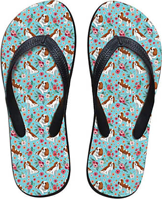 Coloranimal Kawaii King Charles Spaniel Flower Female Flip Flops T-Strap Elastic Basic Slippers EU38