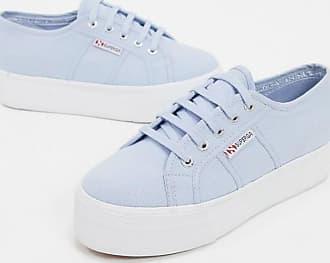 Superga 2790 - Blaue Sneaker mit flacher Plateausohle, 4 cm