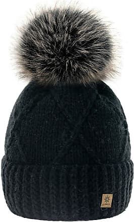 4sold Womens Ladies Beanie Hat Pom Pom Warm Winter Natural Wool Mohair Lining Full Cosy Fleece Liner (Birma Black)